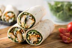 Tandoori chicken wrap with tzatziki Stock Image