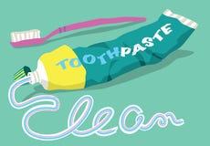 Tandpasta en borstel met schoon woord Stock Fotografie