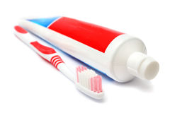 Tandpasta en Tandenborstel stock foto's