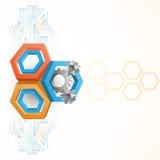 Tandraderen door drie afmetingenzeshoeken die worden ontworpen Stock Foto's