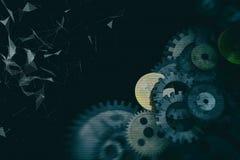Tandraderen en toestellenmechanisme op digitale bedrijfsachtergrond Stock Afbeelding