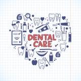 Tandvårdsymboler i formen av hjärta Royaltyfria Bilder