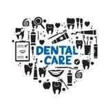 Tandvårdsymboler i formen av hjärta Arkivfoton