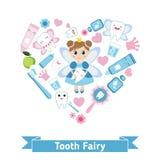 Tandvårdsymboler i formen av hjärta Royaltyfri Fotografi