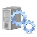 Tandwiel met computer Royalty-vrije Stock Afbeeldingen