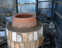Tandyr - eastern oven - under construction Royalty Free Stock Photography