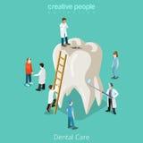 Tandzorg micro- tandarts geduldige mensen en reusachtig vector illustratie