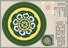 Tang, das Drei-Farbe drei schnitzte, bezahlt Plattenmuster Lizenzfreie Stockfotos
