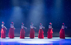Tang Dynasty palace-Chinese folk dance. May 15, 2016, from Jiangxi province around the dancers gathered to exchange skills. At the Nanchang Repertory Theater stock photos