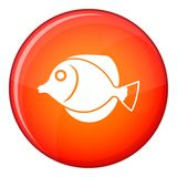 Tang fish, Zebrasoma flavescens icon, flat style. Tang fish, Zebrasoma flavescens icon in red circle isolated on white background vector illustration Stock Images