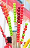 Tang hulu. Colorful sugarcoated haws on a stick Royalty Free Stock Photos