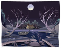 Étang la nuit. Image stock