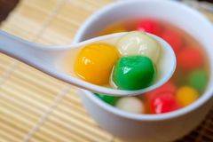 Tang Yuan or traditional chinese sweet rice ball. Made from glutinous rice with sweet soup stock photos