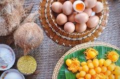 Tanga Yod e Foy Thong & x28; Desserts& tradicional tailandês x29; com ingrediente foto de stock