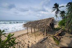Tangalle海滩风景,斯里兰卡 免版税库存图片
