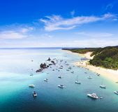 Tangalooma Wrecks Landscape, Queensland, Australia. Beautiful scenic overhead view of ships moored in crsytal clear waters off the coast at Tangalooma Wrecks Stock Images