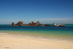 Tangalooma Wrecks on Moreton Island. Tangalooma Wreck on Moreton Island in Queensland, Australia. The island is great for four-wheel-driving, sea kayaking and Royalty Free Stock Image