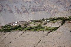 Tangbe村庄在喜马拉雅山的3040 m 迁徙对上部野马闭合的区域  尼泊尔 库存图片
