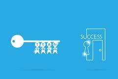 Tangent av framgång med affärsmansymbol, teamwork och affärsidé Arkivfoto