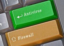 Tangent för antivirus och firewall arkivfoto