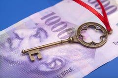 Tangent till framgång med den röda pilbågen på schweizare 1000 franc anmärkning Fotografering för Bildbyråer