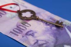 Tangent till framgång med den röda pilbågen på 1000 schweizisk franc anmärkning Arkivfoton