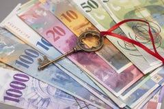 Tangent till framgång med den röda pilbågen på schweizisk francanmärkningar Royaltyfri Foto