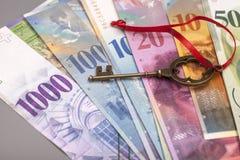 Tangent till framgång med den röda pilbågen på schweizisk francanmärkningar Arkivbild