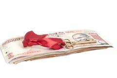 Tangent till framgång på sedlar för indisk rupie Arkivfoton