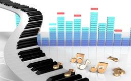tangentanmärkningar för piano 3d Royaltyfria Bilder