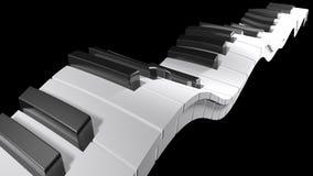 Tangentbord av ett piano som vinkar på svart bakgrund - tolkning 3D Royaltyfria Bilder