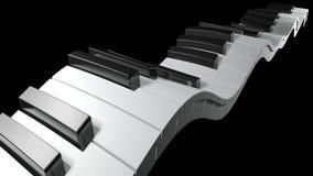 Tangentbord av ett piano som vinkar på svart bakgrund - tolkning 3D arkivfilmer
