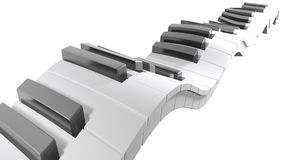 Tangentbord av ett piano som vinkar på vit bakgrund - tolkning 3D Arkivbild