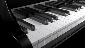 Tangentbord av ett svart piano - tolkning 3D Arkivbild