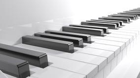 Tangentbord av ett vitt piano - tolkning 3D Arkivfoton