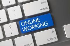 Tangentbord med blåttknappen - online-arbete 3d Royaltyfria Bilder