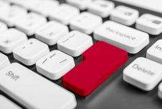 Tangentbord med den blanka röda knappen Arkivbilder