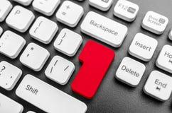 Tangentbord med den blanka röda knappen Fotografering för Bildbyråer