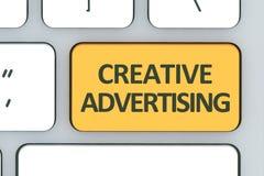Tangentbord med den idérika advertizingknappen Datorvitkeyboa Royaltyfria Bilder