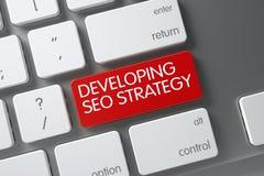 Tangentbord med den röda knappen - framkallande SEO Strategy 3d Arkivbilder
