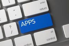 Tangentbord med det blåa tangentbordet - Apps 3d Royaltyfri Bild