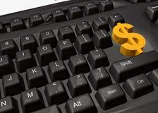 tangentbordet gör pengarsymbol Royaltyfri Bild