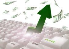 tangentbordet gör pengarsymbol Arkivbilder