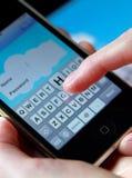 tangentbordsmobiltelefon Fotografering för Bildbyråer