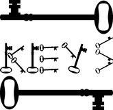 tangenten keys den säkra säkra silhouetten för låset Arkivfoto