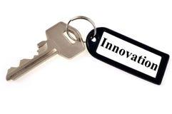 Tangenten till innovation på vit bakgrund arkivfoto