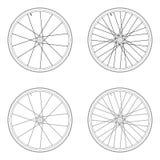Tangentiales Schnürenmuster des Fahrradspeichenrads Lizenzfreie Abbildung