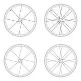 Tangentiales Schnürenmuster des Fahrradspeichenrads Stock Abbildung
