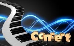 tangentmellanrum för piano 3d Royaltyfria Bilder
