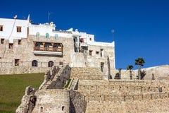 Tanger废墟在摩洛哥,麦地那,古老堡垒在老镇 免版税库存照片